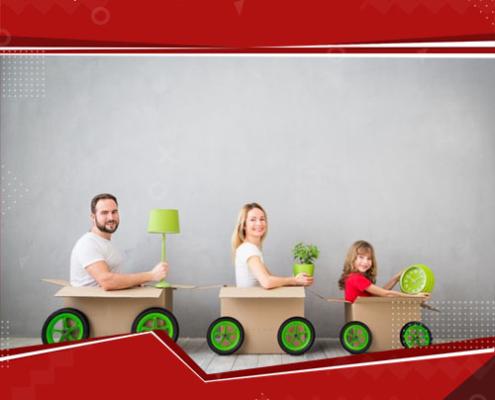 familia dentro de uma caixa